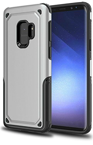 Galaxy S9 Case, Hyperion [Titan Series] Slim Dual Layer Protective Cell Phone Cover for Samsung Galaxy S9 (2018) -Silver]()