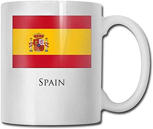 Taza de café de cerámica de la bandera de España con mango en C grande para viajes de oficina en casa 11 oz: Amazon.es: Hogar