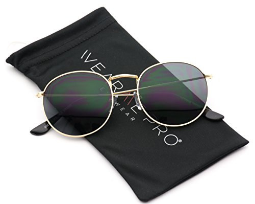 WearMe Pro - Reflective Lens Round Trendy Sunglasses ( Gold Frame / Black Lens, 50) (Round Sunglasses)