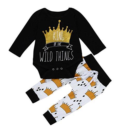 Kehen 2PCS Newborn Baby Boys King Of The Wild Things Romper + Crown Print Elastic Pants (3/6M, Black)