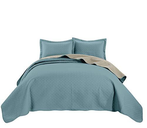 - Chezmoi Collection Mesa 3-Piece Oversized Reversible Bedspread Coverlet Set (Queen, Blue/Khaki)