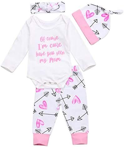 Newborn Baby Girls Clothing Set Letter Words Romper Bodysuit Headband Hat Pants Outfits