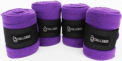 Horse Tack Grooming Leg Protection Polo Wrap Set of 4 Soft Fleece Purple 95R05