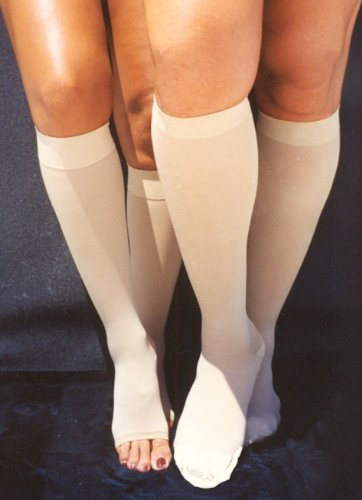 - Ultimate Therapy Surgical Support Knee High Stockings 21-30mmHg, Open Toe (Medium, Beige)