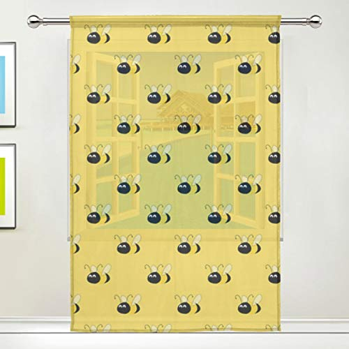 - Bumblebee Yellow 78 Inch Sheer Curtains Window Voile Panels for Bedroom & Kitchen