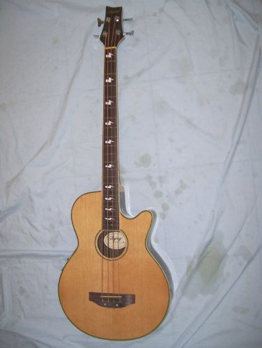 4 string acoustic electric Bass Guitar, flamed maple body