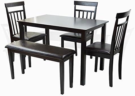 Dining Kitchen 5 Pcs SET Rectangular Table 3 Warm Chairs Bench White Finish