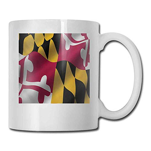 Ceramic Porcelain Mug American Flag of the US State of Maryland Closeup 3D Style Picture Waving America National Milk 11 oz Multicolor