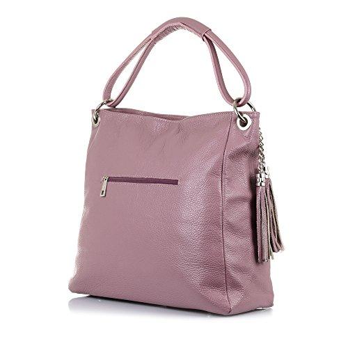 PELLE 38x33x15 mujer Bolso NEGRO ITALY Bolso auténtica genuino IN cm shopping Color Rosa cuero VERA MADE piel suave FIRENZE piel de ARTEGIANI tacto ITALIANA Dollaro bag 1qFwFH