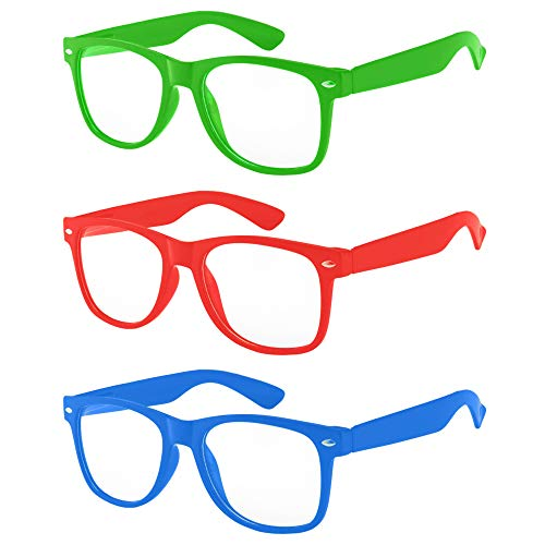 OWL - Non Prescription Glasses - Clear Lens - Green + Red + Blue (Pack of ()