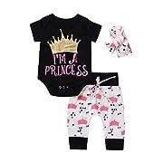 Imsmart Cute 3pcs Newborn Infant Baby Girls Romper+Pants+Headband Legging Home Outfits Set (60(0-3M), Black+white)
