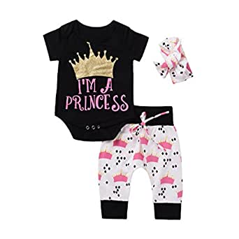 FORENJOY Fashion Baby Clothes Set, Cute Newborn Infant Baby Boy Girl 3PCS Clothes Letter Rompers Coat Pants Clothes Set (Black, 12-18months)