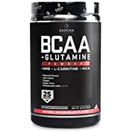 Sascha Fitness BCAA 4:1:1 + Glutamine,HMB,L-Carnitine,HICA | Powerful and Instant Powder Blend with Branched Chain Amino Acids (BCAAs) for Pre,Intra and Post-Workout | Natural Watermelon Flavor,350g