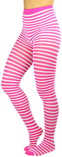 Pink Striped Tights (ToBeInStyle Womens Colorful Opaque Striped Tights Pantyhose Stocking Hosiery - White/Fuchsia - One)