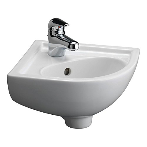 Console Sinks Bone Vitreous China (Barclay 4-745WH Petite Vitreous China Wall-Hung Corner Basin)