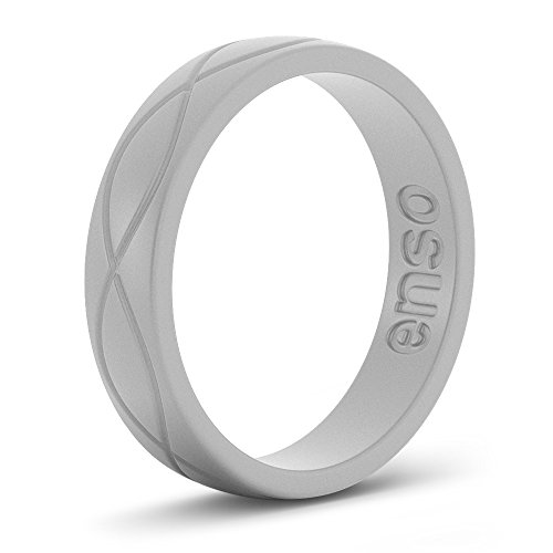 Gray Womens Ring - Enso Womens Infinity Silicone Ring Misty Gray Size: 4