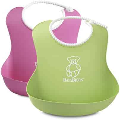 BABYBJORN Soft Bib, Pink/Green, 2 Pack