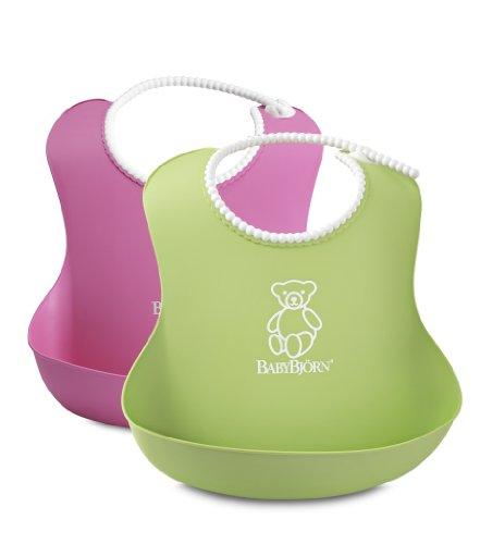 BABYBJORN Soft Bib, Pink/Green, 2 Pack