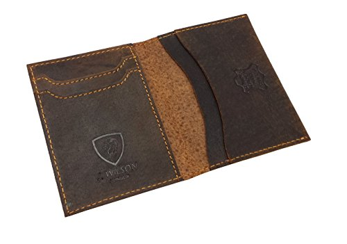J Fold Bi Fold Wallet (J. Wilson London J Wilson London Hand Crafted Real Leather Wallet Credit Carder Holder Bifold Slim Raw Oiled Hunter Purse With Gift Box Medium Brown)