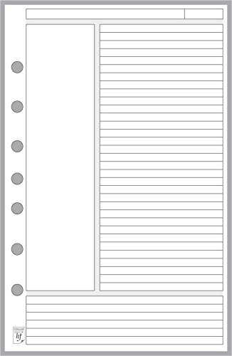 Classic Size Notes Insert designed for the Cornell Notetaking System, Sized and Punched with 7 Holes for Franklin Covey Classic Notebook (5.5