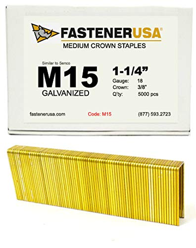 1-1//4 Leg x 3//8 Crown 18GA Galvanized M15 Staples 5M Box