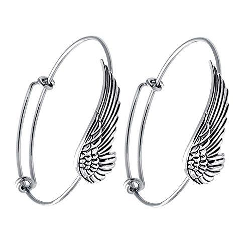 SENFAI Supernatural Protection Angel Wing Adjustable Love Bangles Women Girl Charm Bracelets Gifts (2 pcs Set Antique Silver) by SENFAI