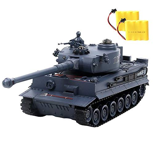(Kikioo Simulation Two Battery Main Battle Tank Crawlers Chariot Holiday Birthday Gifts Child Charging Remote Control Tank LED Light Sound Chariot Shooting Toy WWII German Tiger Tank ( Color : Blue ))