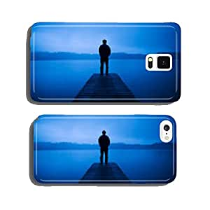 Man Standing on a Jetty by Tranquil Lake cell phone cover case Samsung S6