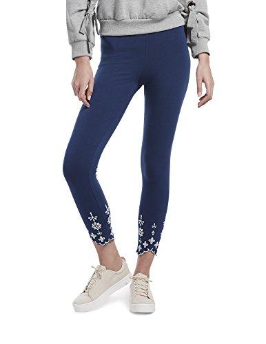 HUE Women's Plus Size Fashion Cotton Skimmer Leggings, Assorted, Embroidered Hem/Skyfall, - Leggings Spandex Embroidered