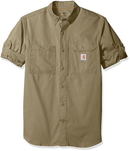 (Carhartt Men's Force Ridgefield Long Sleeve Shirt (Regular and Big & Tall Sizes), Burnt Olive, Medium)