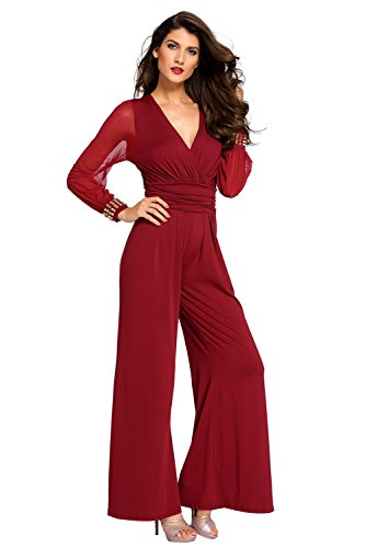 134e6ec7e90 KaleaBoutique Slimming Embellished Cuffs Long Mesh Sleeves Sexy Women  Ladies Jumpsuit