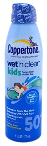 Coppertone Continuous Spf50 Spray Kids Wet N Clear 6ounce(3 Pk)