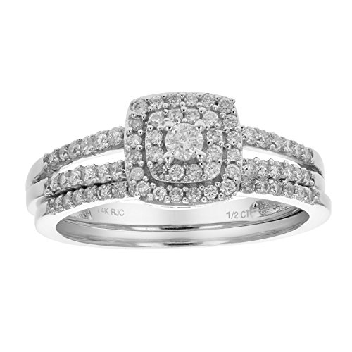 (1/2 CT Diamond Wedding Engagement Ring Set 14K Gold in Size 6)