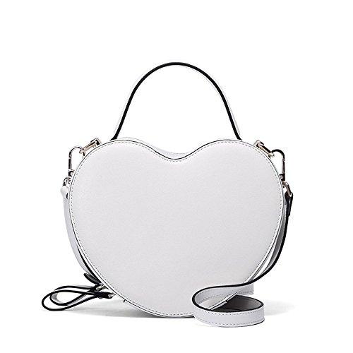 Forme Sac Femmes WKNBEU Blanc Main Diagonale Rouge Cuir à Sacs en Noir Cosmétiques White Mode Mignon Shopping Épaule Coeur FAwYAq