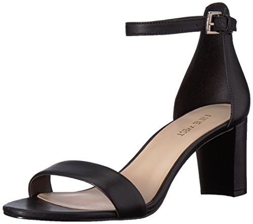 Nine West Women's Pruce Leather Heeled Sandal, Black, 9.5 M US (Nine West Gladiator Sandals)