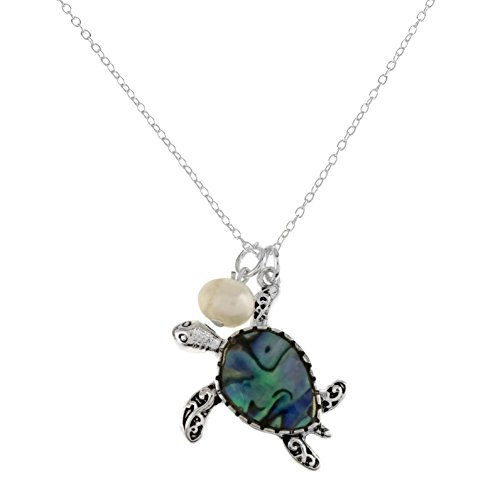 Elosee Abalone and Mother of Pearl Sealife Pendant Chain Necklace (Turtle-Abalone) ()