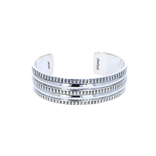 Sterling Silver 925 Stamped Three Row Bracelet