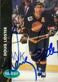 Doug Lidster autographed Hockey Card (Vancouver Canucks) 1991 Parkhurst #184 - Autographed Hockey Cards -