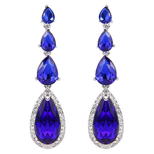 BriLove Wedding Bridal Dangle Earrings for Women Elegant Multi Teardrop Long Chandelier Earrings Royal Blue Sapphire Color Silver-Tone