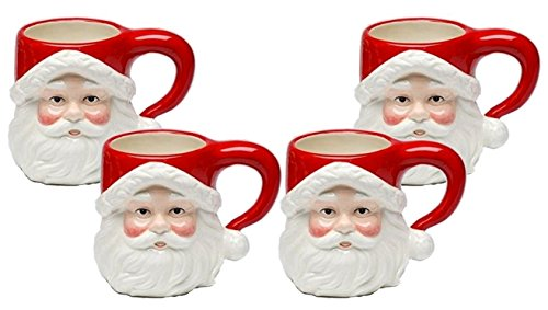 (Christmas Ceramic Classic Santa Heads Beverage Drinking Mugs, Red & White, Set of 4, Medium, 5.5