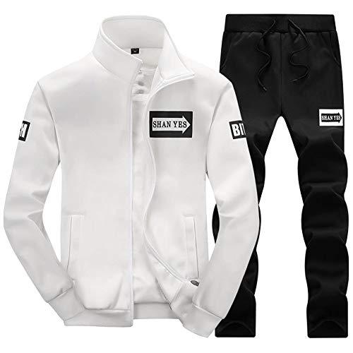 B Pantalon Homme Veste Jogging De Sweat Bazhahei Sport blanc shirt Longues Ensemble Survêtement Manches 7CwCU51q
