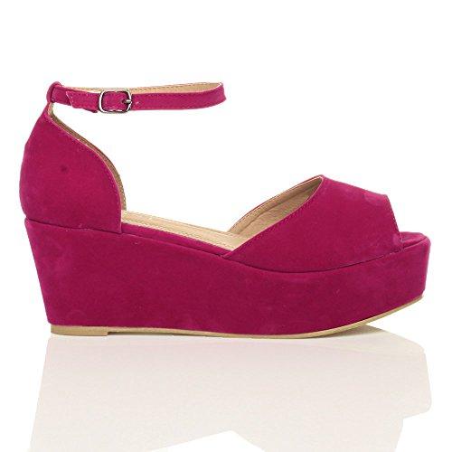 Suede Women Heel Fuschia Flatform Pink Ajvani Sandals Mid Shoes Size vOwzqzp