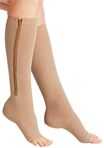 Bcurb Zippered Medical Compression Socks With Open Toe – Best Support Zipper Stocking for Varicose Veins, Edema, Swollen or Sore Legs – Helps Foot Feet Knee Ankle Arch – 1PrZipBgeXXL