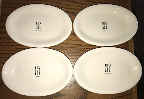 RARE Rae Dunn by Magenta 4 plate set Savor. Dine. Eat. Chow. in typeset with Graphics 8 inch snack dessert plates