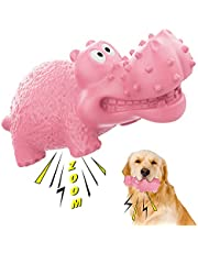 Lewondr Dog Toys for Aggressive Chewers Large Breed, Dog Squeaky Toys, Indestructible Durable Tough Large Dog Toys, Natural Rubber Dog Teeth Cleaning Toy, Dog Chew Toy for Large & Medium Dogs
