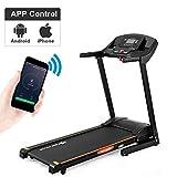 Goplus Folding Treadmill Electric Incline 2.5HP Jogging Running Fitness Machine w/App Control, Large Blue Light Display Black Jaguar Ⅳ(Black)