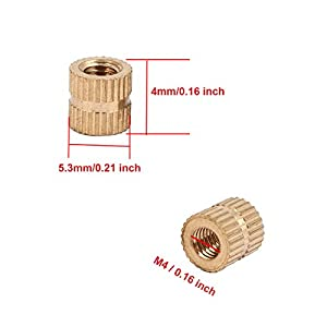 ZXHAO M4x4x5.3/0.16x0.16x0.21 inch Brass Injection Molding Knurled Threaded Insert Nuts 200 Pcs