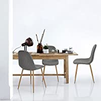 Set of 4 Eames Style Side Chair Metal Legs Fabric Cushion Seat and Back for Dining Room Chairs in Grey
