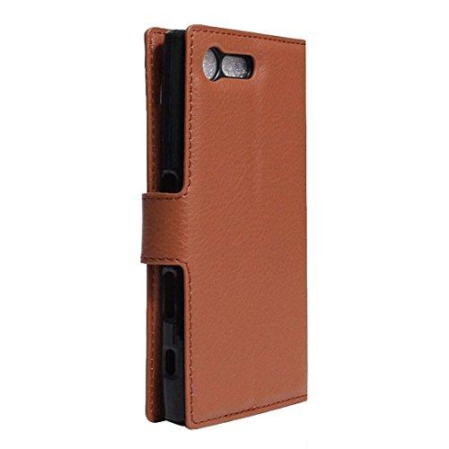 Beautiful & practical Para Sony Xperia X Textura compacta Horizontal Flip caja de cuero con el titular y ranuras para tarjetas y cartera ( Color : Red ) Brown
