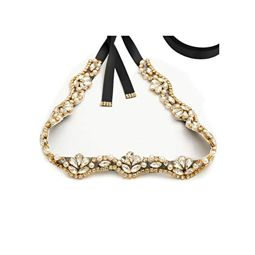 Yanstar Handmade Gold Rhinestone Pearls Wedding Bridal Belt For Wedding Bridesmaid Dress Black Belt Sash ()